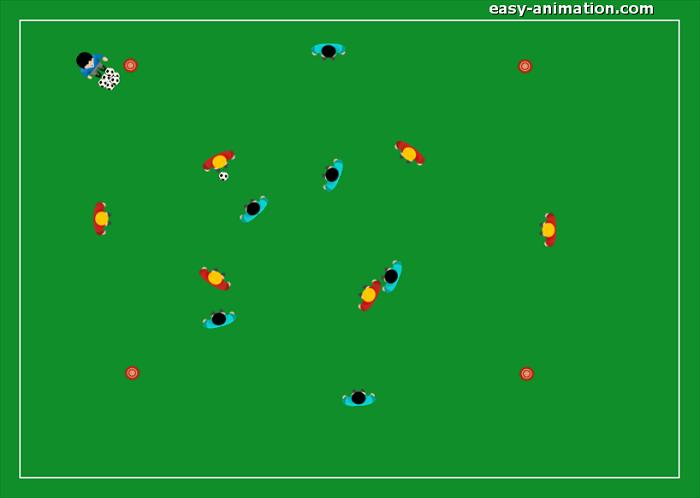 Es. Atletica con l'utilizzo del pallone Possesso palla 4v4 sponde