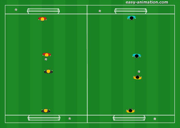 Gioco Semplificato 1v1 con Porte e Portieri